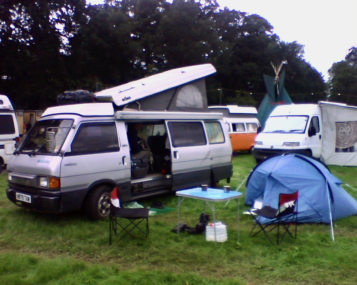 Campervan and tent